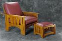 Oak Slab-Leg Morris Chair & Footstool